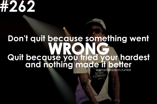 Don T Quit Because Something Went Wrong Quit Because You Tried Your