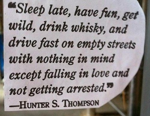 Sleep Late, Have Fun, Get Wild, Drink Whisky, And Drive