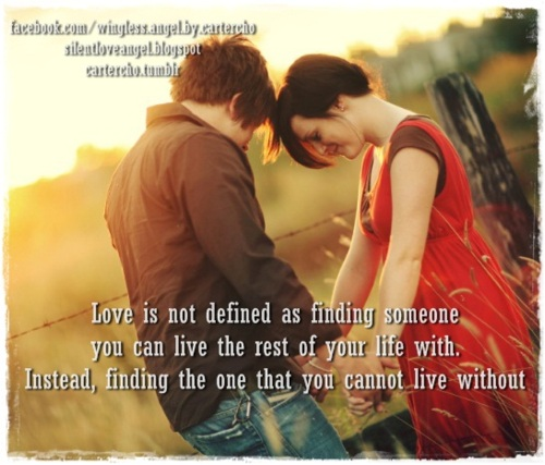Love Is Not Defined As Finding Someone You Can Live The Rest Of Your Life  With. Instead, Finding The One That You Cannot Live Without.
