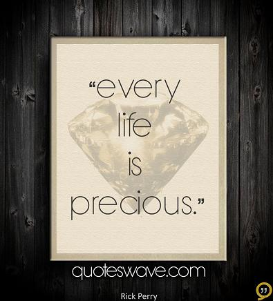 Life Is Precious Quotes Glamorous Every Life Is Precious Rick Perry Picture Quotes  Quoteswave