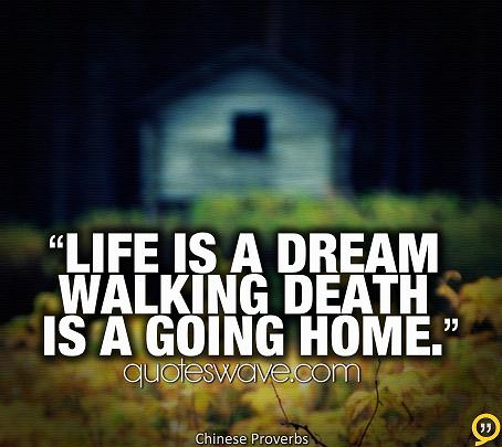 life is a dream walking death is a going home chinese proverbs